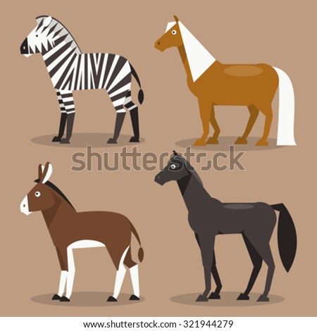 Illustration of different breeds of horses, zebras, ponies and a donkey - stock vector