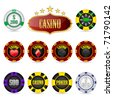 illustration of different casino coins on isolated background - stock photo