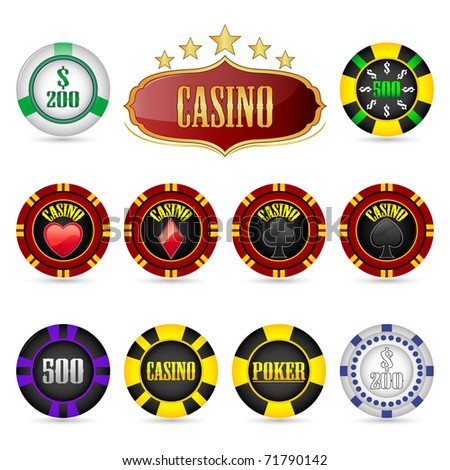 illustration of different casino coins on isolated background - stock vector