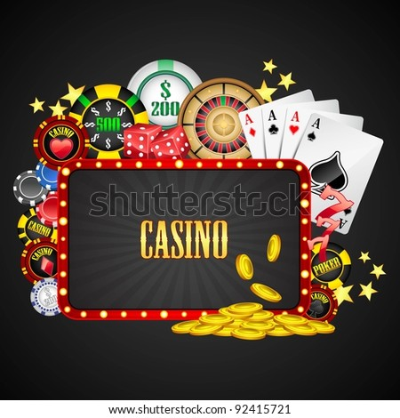 illustration of different casino object with board - stock vector