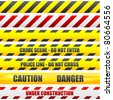 illustration of different caution lines - stock photo