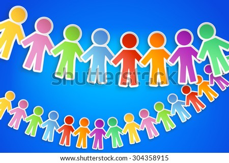 illustration of different color paper people group with shadow on blue background