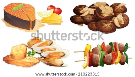 Illustration of different dishes - stock vector