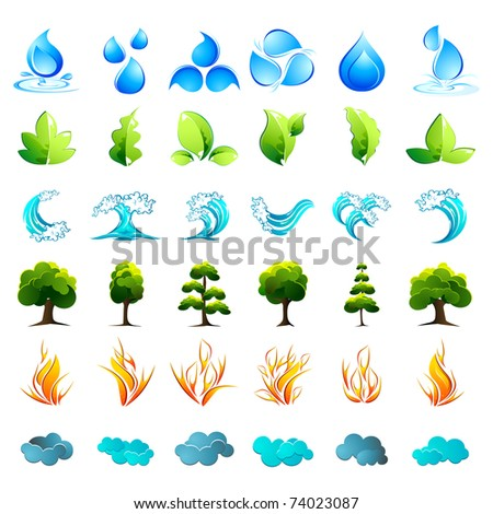 illustration of different element of nature on isolated background - stock vector