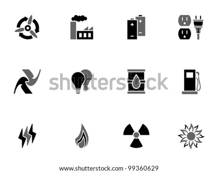 Illustration of different energy icons on white background - stock vector
