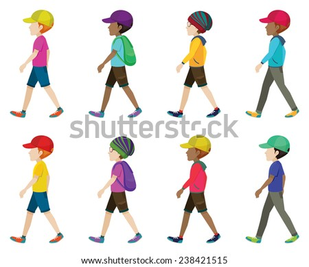 Illustration of different faceless teenagers walking - stock vector