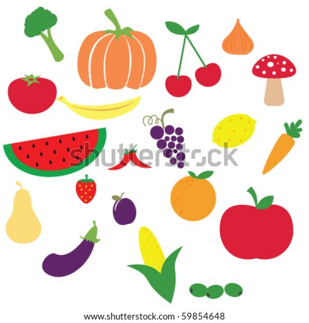 illustration of different fruits and vegetables on white background - stock vector