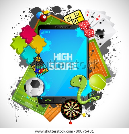 illustration of different games with modern mobile phone - stock vector