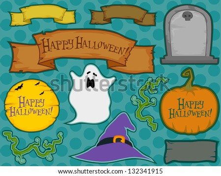 Illustration of different halloween labels - stock vector