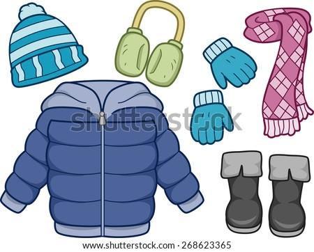 Illustration of Different Items Commonly Worn on Winter - stock vector