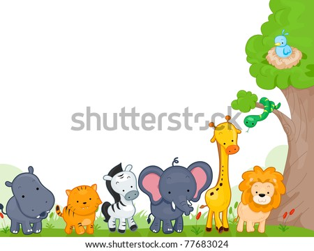 Illustration of Different Jungle Animals for Background - stock vector