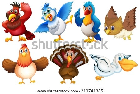 Illustration of different kind of birds - stock vector