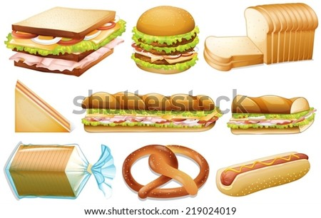Illustration of different kind of bread - stock vector