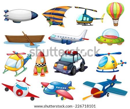 illustration of different kind of transportation - stock vector