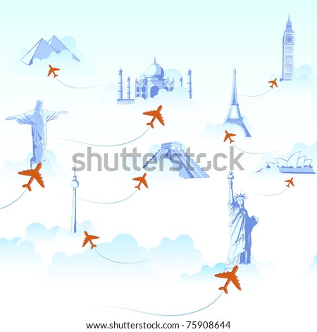 illustration of different monuments on cloud with airplane flying showing travel destination - stock vector