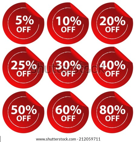 Illustration of different percentage of discount stickers - stock vector