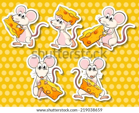 Illustration of different poses of mouse and cheese - stock vector