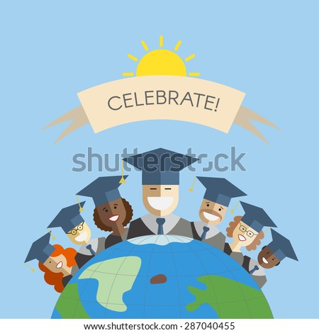 Illustration of different races men and women graduates standing on the top of the earth. Multinational world graduation concept. Education union idea - stock vector