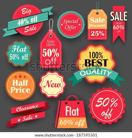 illustration of different sale and discount tags in flat style for promotion - stock vector