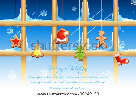 illustration of different shape cookies for christmas hanging on window - stock vector