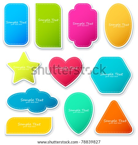 illustration of different shape sticker on isolated background