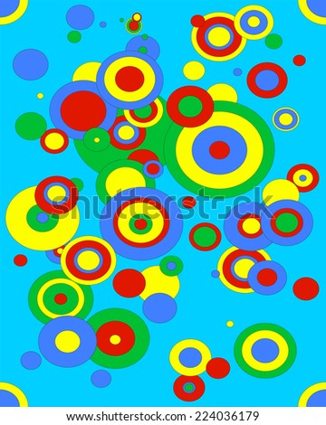 Illustration of different size circles in green, red, blue and yellow.  EPS vector format.
