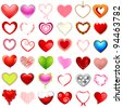 illustration of different style of hearts on isolated background - stock photo