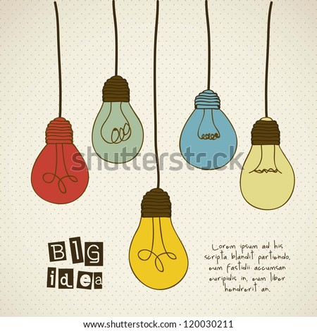 Illustration of different types of bulbs with vintage colors, vector illustration - stock vector