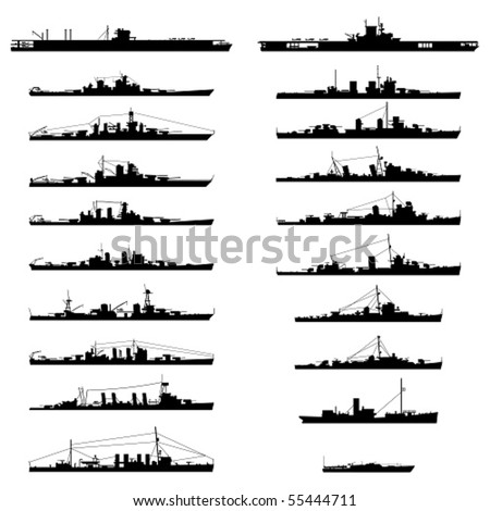 Illustration of 20 different warships in vector. - stock vector