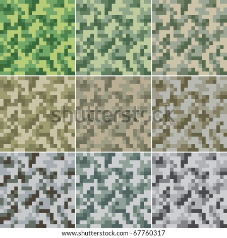 Illustration of digital camouflage #2 seamless patterns.