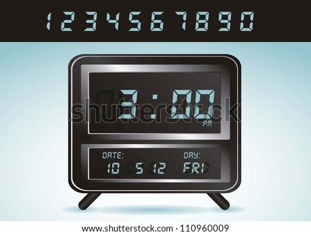 illustration of digital clock, isolated on white background, vector illustration - stock vector