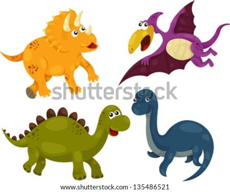 illustration of Dinosaur collection - dino - stock vector