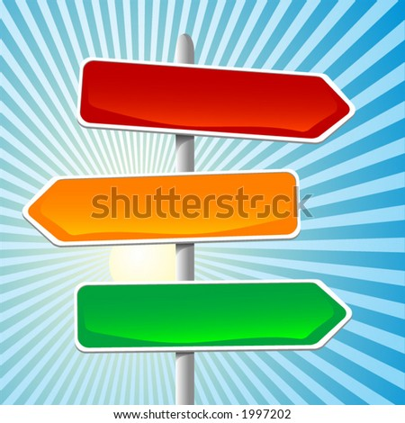 illustration of direction sign. Can be easily changed and/or sized. Each element on it's own layer. - stock vector