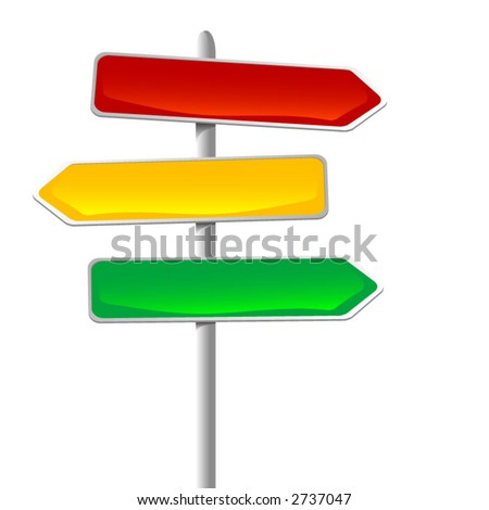 illustration of direction sign over white background. Can be easily changed and/or sized or applied to any background. Each element on it's own layer. - stock vector