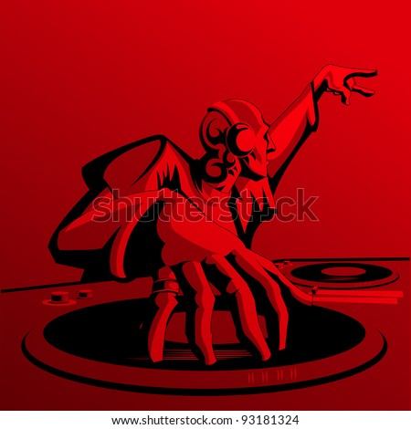 illustration of disco jockey playing music in discotheque - stock vector