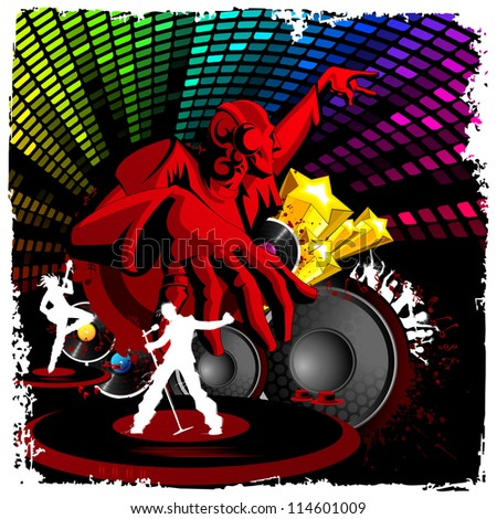 illustration of disco jockey playing music on musical background - stock vector
