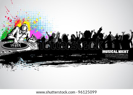 illustration of disco jockey with party crowd on musical background - stock vector