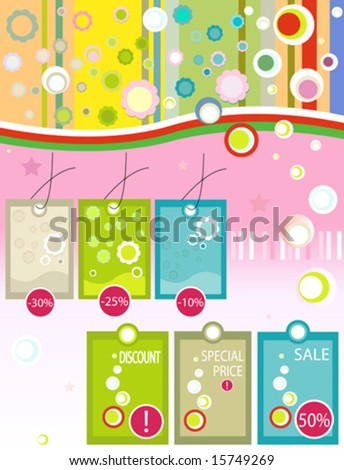 illustration of discount labels with promotional messages