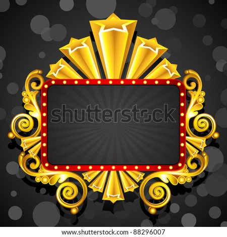 illustration of display board decorated with starry golden frame