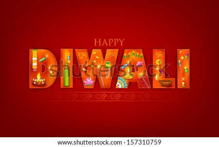 illustration of Diwali background with puja object - stock vector