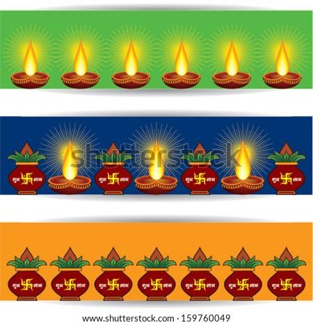illustration of diwali banner for website with diya and  mangal kalash  - stock vector