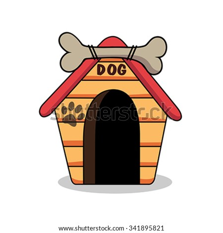 Illustration of dog kennel vector - stock vector