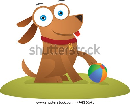 Illustration of Dog sitting with a ball - stock vector