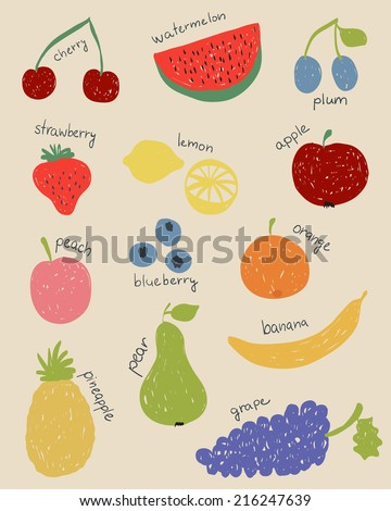 Illustration of doodle fruits in retro colors