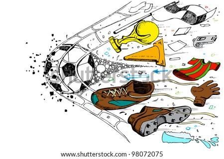 illustration of doodle of soccer element in goal net - stock vector