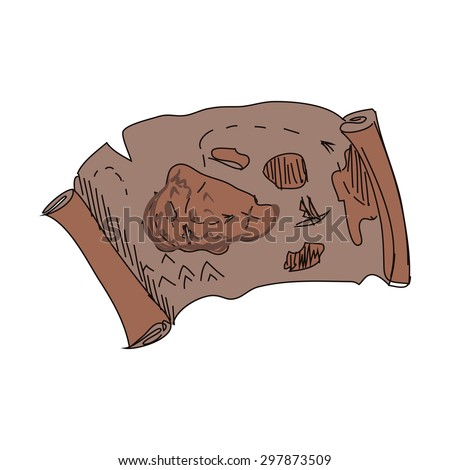 Illustration of doodle treasure map, excellent vector illustration, EPS 10 - stock vector