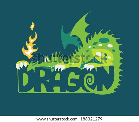 Illustration of dragon with flame - stock vector