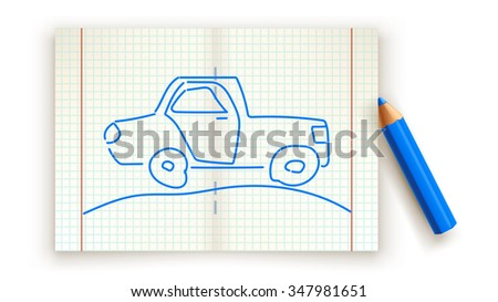 illustration of drawed car on paper list with blue color pencil - stock vector