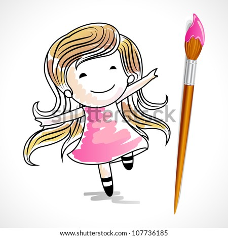 illustration of drawing of baby girl with color brush - stock vector