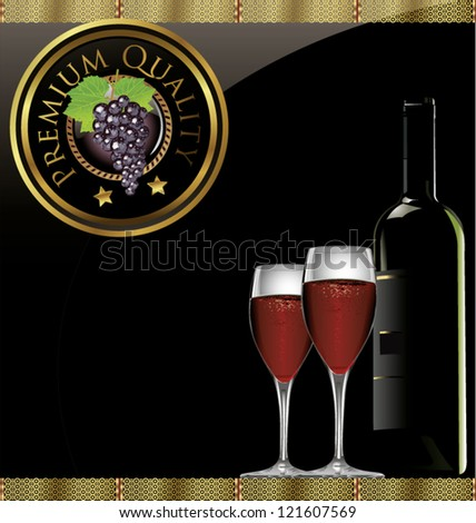 Illustration of drink menu card with wine glass and bottle - stock vector